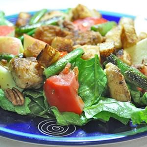Fried pangasius salad