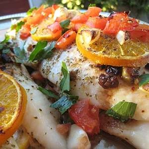Pangasius fish served with Vegetables