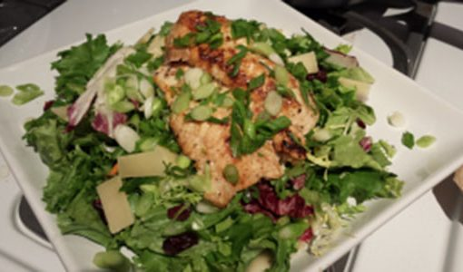A pangasius salad on a plate