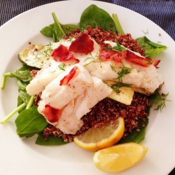 Pangasius on a bed of spinach and quinoa –Your everyday fish