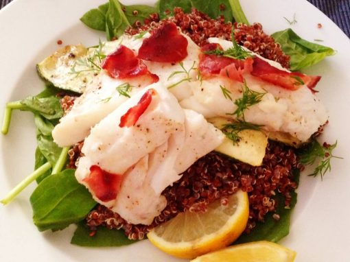 Pangasius on a bed of spinach and quinoa – Your everyday fish