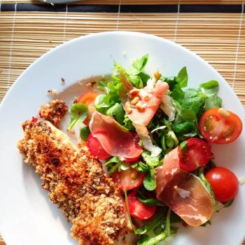 Pangasius with a delightful breaded crust and Italian salad