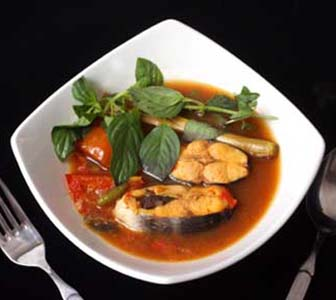 Traditional Pangasius Soup from Indonesia on a plate