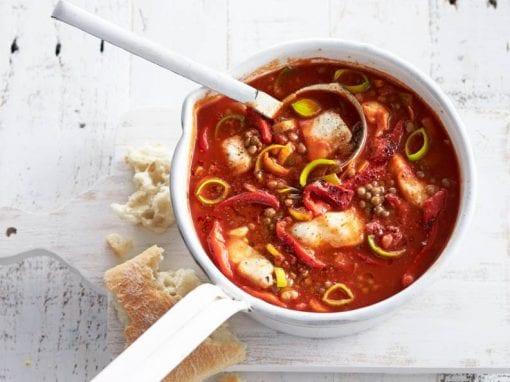 Mediterranean pangasius soup