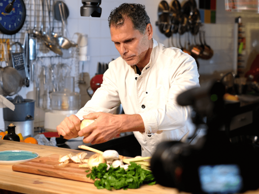 Chef Mark preparing one of the pangasius dishes during the video shooting – Your everyday fish